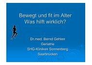 Dr.med. Bernd Gehlen: Bewegt und fit im Alter - Was hilft wirklich?