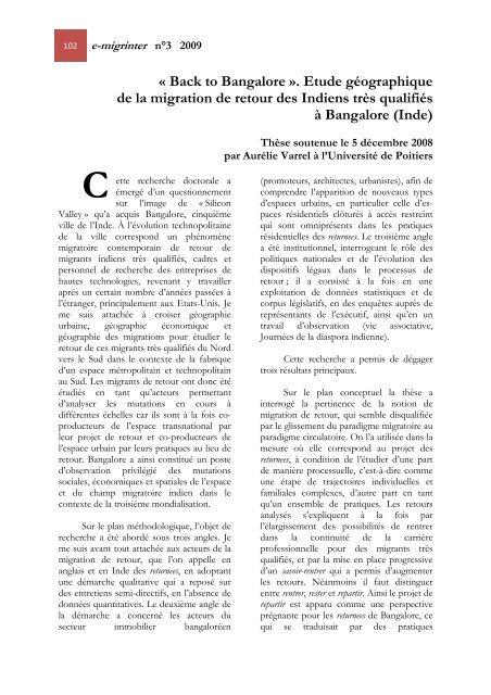 """""""Back to Bangalore"""". - Université de Poitiers"""