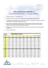 Ceník servisních služeb LAB MARK a