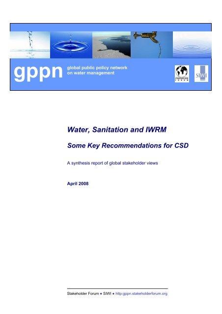 Water, Sanitation and IWRM - Stakeholder Forum