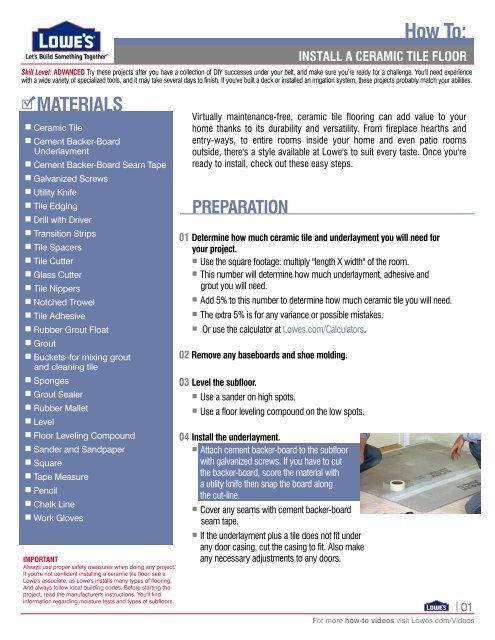 install a ceramic tile floor - Lowe's