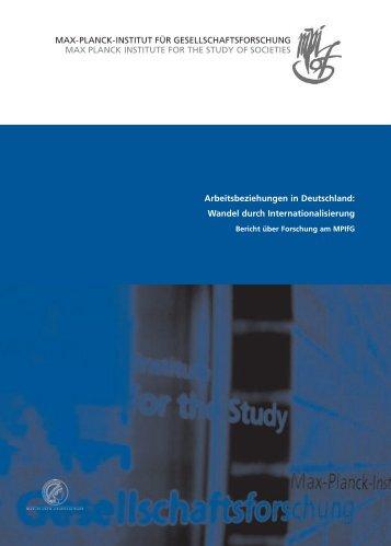 Arbeitsbeziehungen in Deutschland: Wandel durch - MPIfG