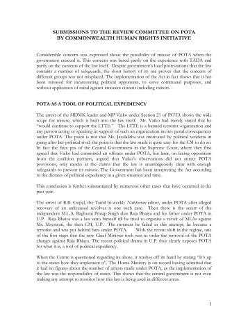 Submission to the Review Committee on Pota - Commonwealth ...