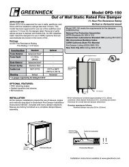 Model OFD-150 Out of Wall Static Rated Fire Damper - Greenheck