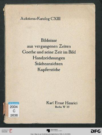 Eine Goethesammlung: Bildnisse und ... - Warburg Institute