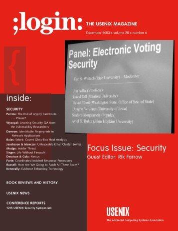 inside: Focus Issue: Security