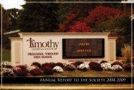 Annual Society Report Insert - Timothy Christian Schools