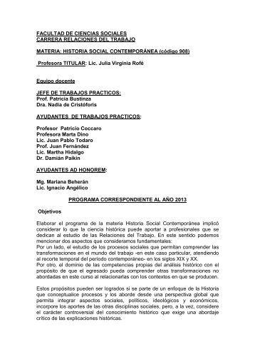 2013 historia social contemporánea - Carrera de Relaciones del ...
