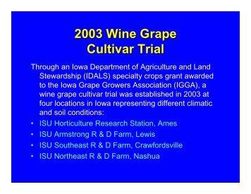 2003 Wine Grape Cultivar Trial 1-8 - Viticulture Iowa State University