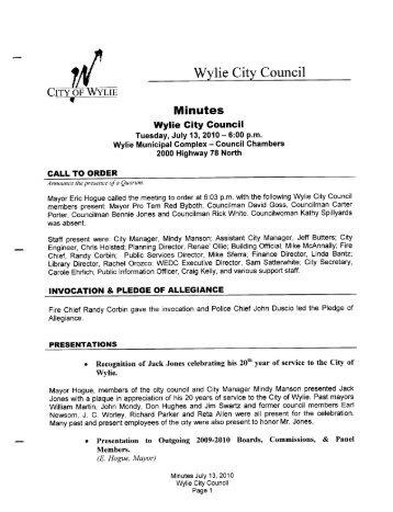 07-13-2010 (City Council) Minutes