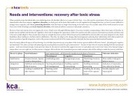 Needs and interventions: recovery after toxic stress