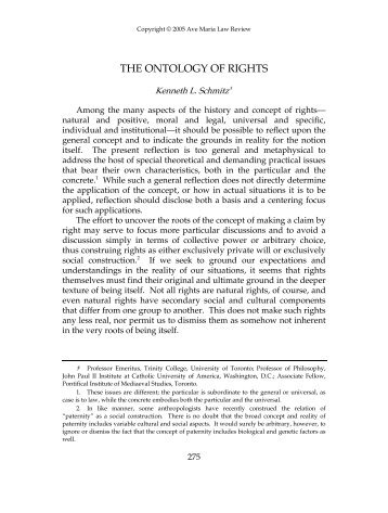 THE ONTOLOGY OF RIGHTS - Ave Maria School of Law