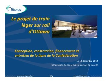 Le projet de train léger sur rail d'Ottawa - Ottawa Confederation Line