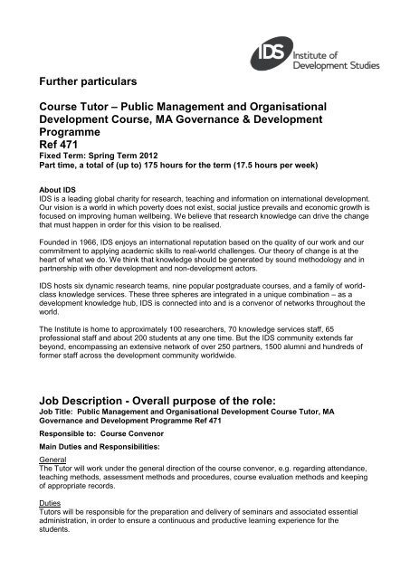 Further particulars Course Tutor – Public Management and