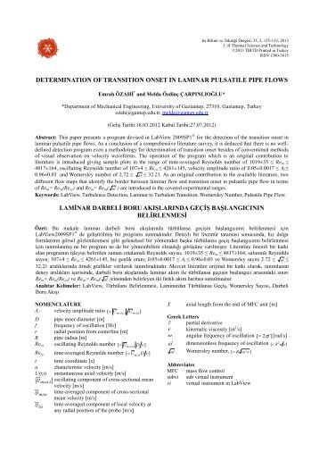 determination of transition onset in laminar pulsatile pipe flows ...