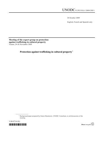 Protection against trafficking in cultural property* - sccjr