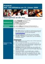 Protokoll Zeit- und Hilfsbörse am 31. Jänner 2006 lebensgenuss an ...