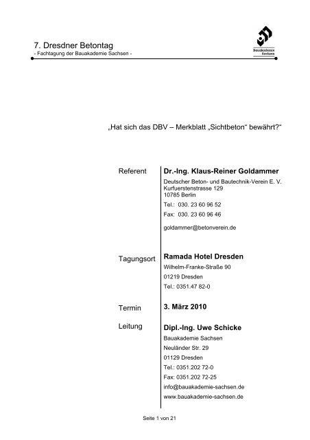 7. Dresdner Betontag - Beton und Sichtbeton