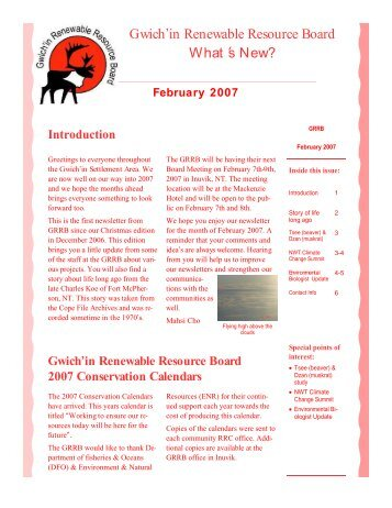 February Newsletter - Gwich'in Renewable Resources Board