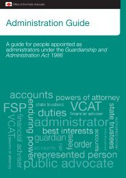 Administration Guide - Office of the Public Advocate, Victoria, Australia