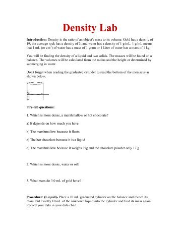 density of solutions lab Separating plastics by density introduction:  have a density greater than the solution plastics that float are less dense than the  lab questions 1 which two.