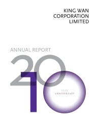 KING WAN CORPORATION LIMITED ANNuAL REPORT