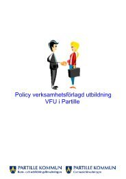 Policy verksamhetsförlagd utbildning VFU i Partille - Partille kommun