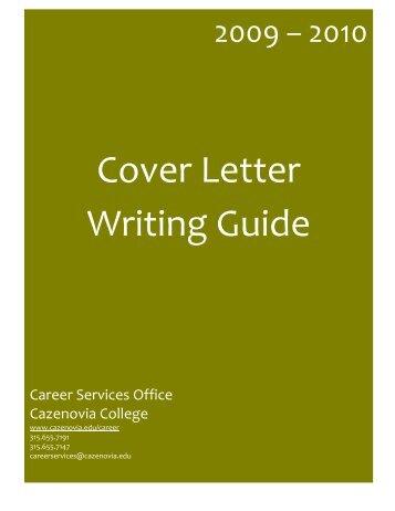 Cover Letter Writing Guide   CazNet U003e Home   Cazenovia College