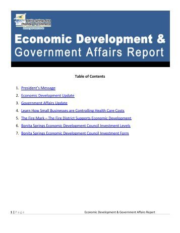 Table of Contents 1. President's Message 2. Economic Development ...