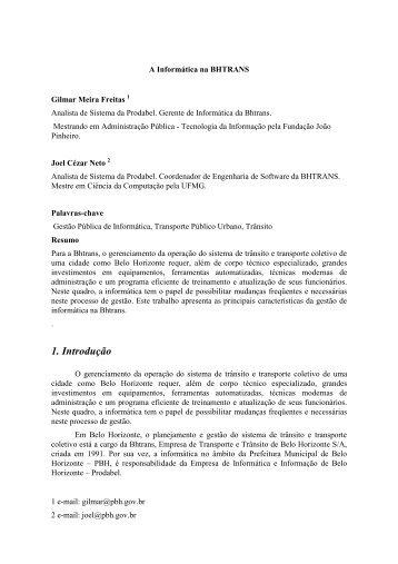 1. Introdução - Prefeitura Municipal de Belo Horizonte