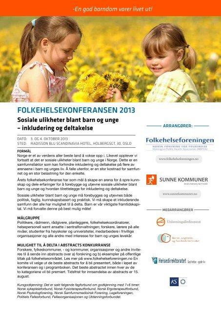 Folkehelsekonferansen 2013 (pdf) - Helsedirektoratet