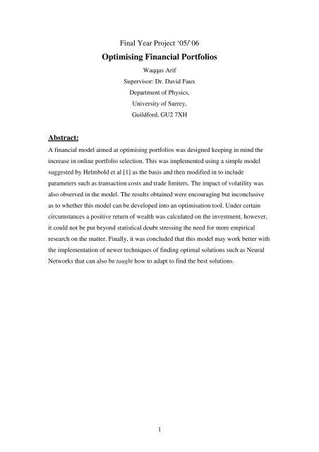 Optimising Financial Portfolios - Department of Physics - University ...
