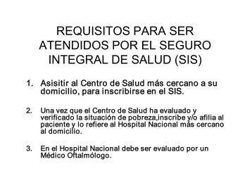 requisitos para ser atendidos por el seguro integral de salud (sis)