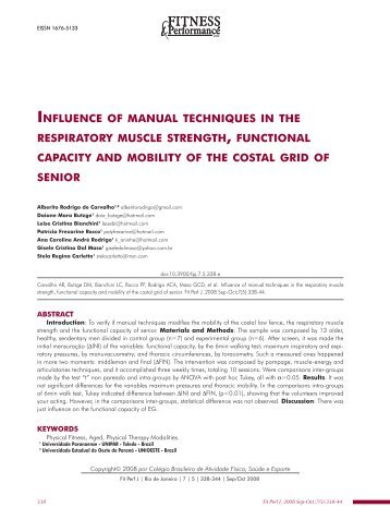 influence of manual techniques in the respiratory muscle strength ...