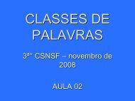 CLASSES DE PALAVRAS - Colégio Nossa Senhora de Fátima