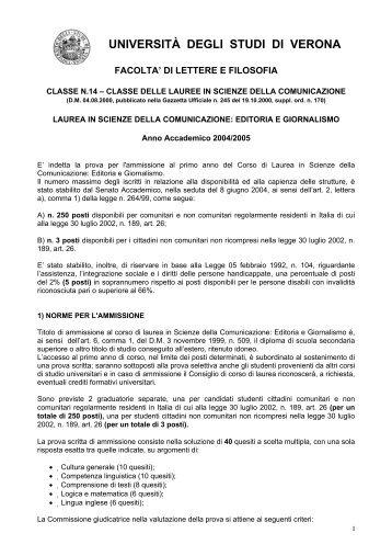 pdf (it, 163 KB, 8/5/04) - Università degli Studi di Verona