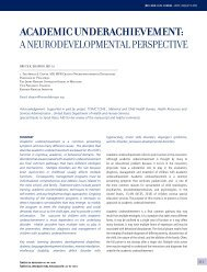 ACADEMIC UNDERACHIEVEMENT: A neurodevelopmentAl ...