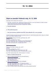 Zápis ze zasedání Vědecké rady, 16. 12. 2004