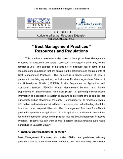 * Best Management Practices * Resources and Regulations