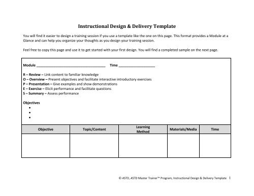 Sample Tool Instructional Design Delivery Template Astd