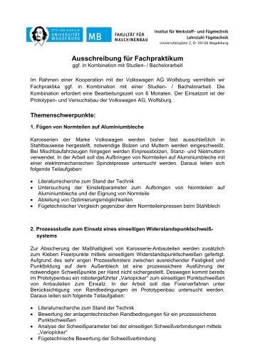 Bachelorarbeit bei der Volkswagen AG Wolfsburg - Otto-von ...