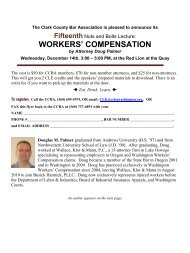 WORKERS' COMPENSATION - Clark County Bar Association