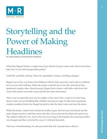 Storytelling and the Power of Making Headlines - M+R Research ...
