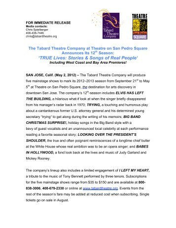 'TRUE Lives: Stories & Songs of Real People' - The Tabard Theatre ...