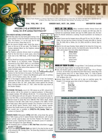 Dope Sheet Week 8 - Packers.com, the official website of the Green ...