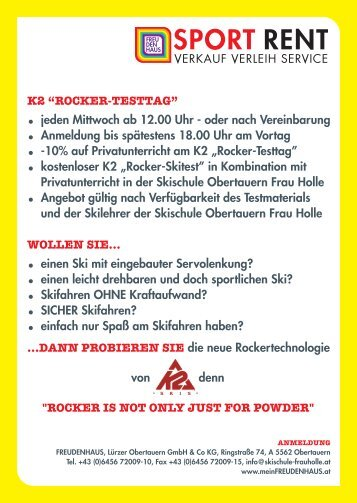 K2 Rocker Days & Bogner Ski-Testtage - Freudenhaus
