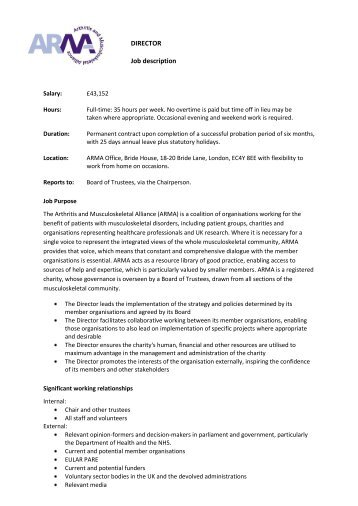 DIRECTOR Job Description   CharityJOB