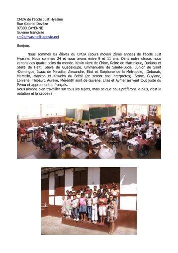 CM2A de l'école Just Hyasine Rue Gabriel Devèze 97300 ...