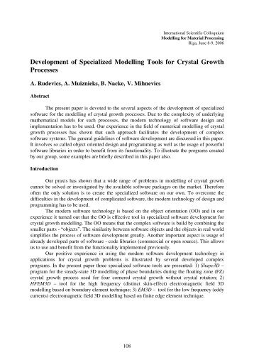Development of Specialized Modelling Tools for Crystal Growth ...