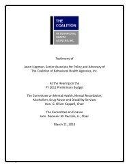 Testimony - The Coalition of Behavioral Health Agencies, Inc.